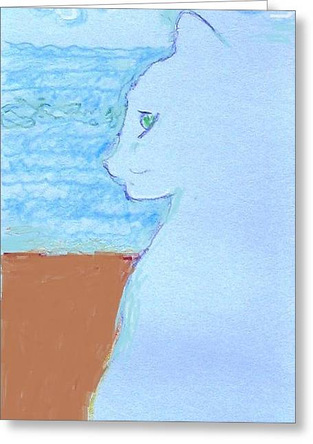 Drawings Of Cats Greeting Cards - Cindy by the Sea Greeting Card by Anita Dale Livaditis