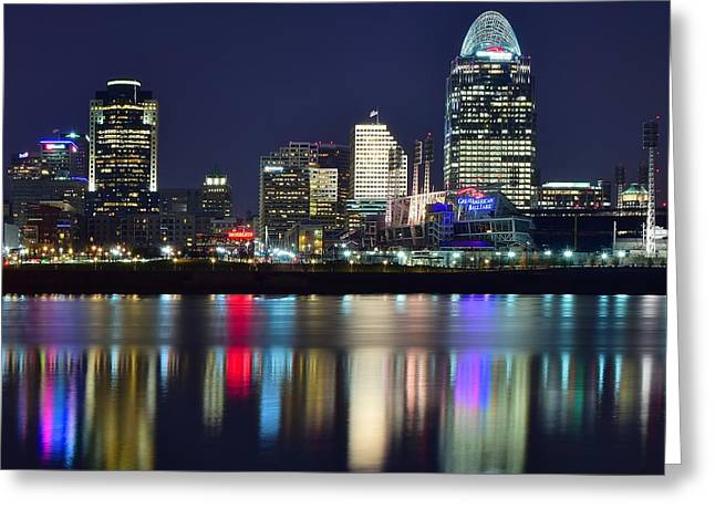 Greater Cincinnati Greeting Cards - Cinicinnati At Dusk Greeting Card by Frozen in Time Fine Art Photography
