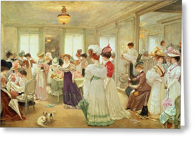 Cinq Heures Chez Le Couturier Paquin, 1906 Greeting Card by Henri Gervex