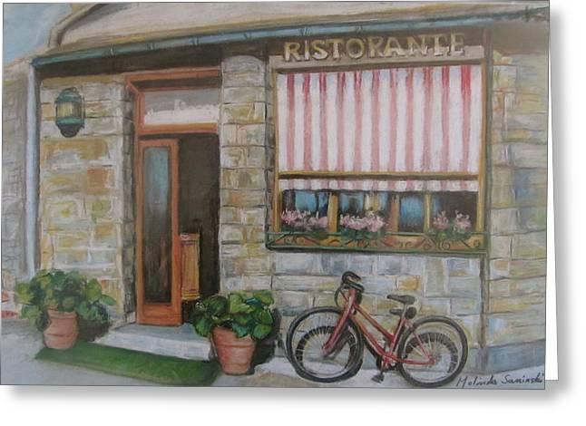 Melinda Saminski Greeting Cards - Cinque Terra cafe with Bicycle Greeting Card by Melinda Saminski