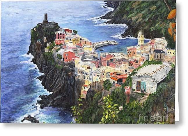 Blue Green Wave Greeting Cards - Cinque Terra Painting Greeting Card by Timothy Hacker