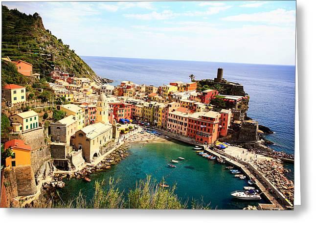 Italian Riveria Greeting Cards - Cinque Terre Greeting Card by Chris Schmitt