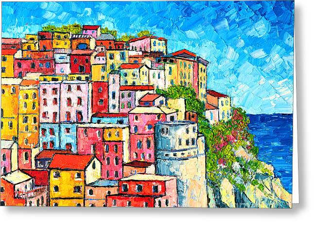 Blue And Purple Sea Greeting Cards - Cinque Terre Italy Manarola Colorful Houses  Greeting Card by Ana Maria Edulescu