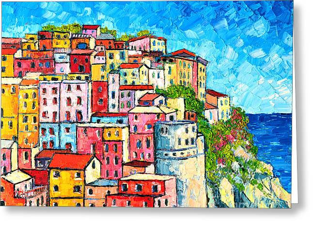 Red-roofed Buildings Greeting Cards - Cinque Terre Italy Manarola Colorful Houses  Greeting Card by Ana Maria Edulescu