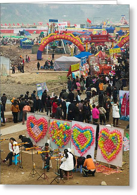 New Year Greeting Cards - Ciqikou Carnival By The Jialing River Greeting Card by Panoramic Images