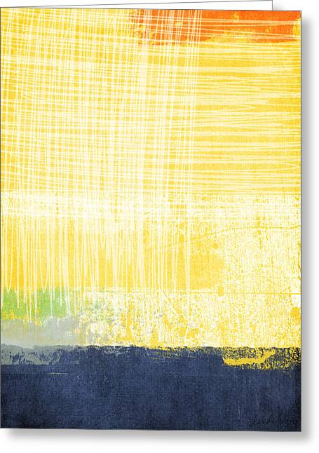 Best Sellers -  - Green And Yellow Abstract Greeting Cards - Circadian Greeting Card by Linda Woods