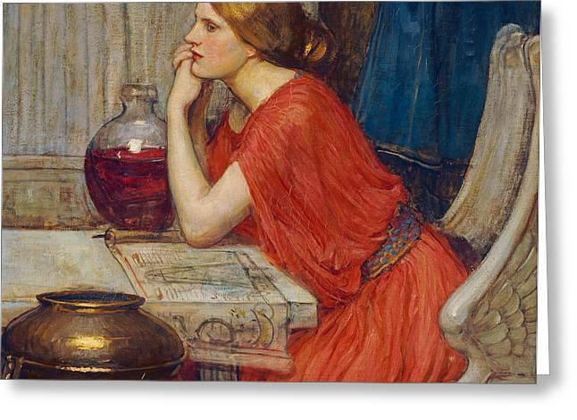 Contemplation Paintings Greeting Cards - Circe Greeting Card by John William Waterhouse
