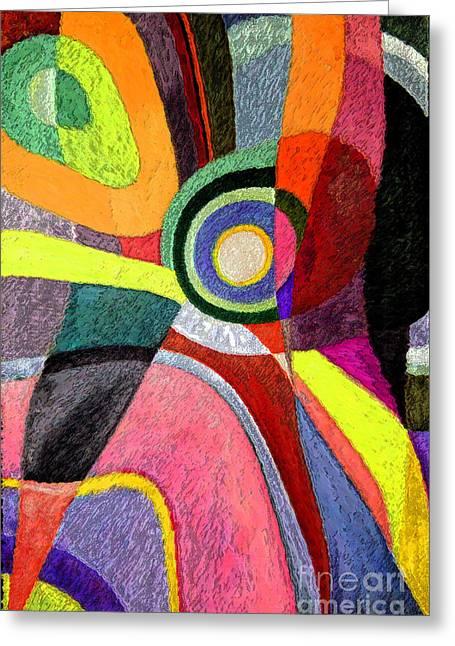 Geometric Artwork Greeting Cards - Circle Abstraction #5 Greeting Card by Karen Adams