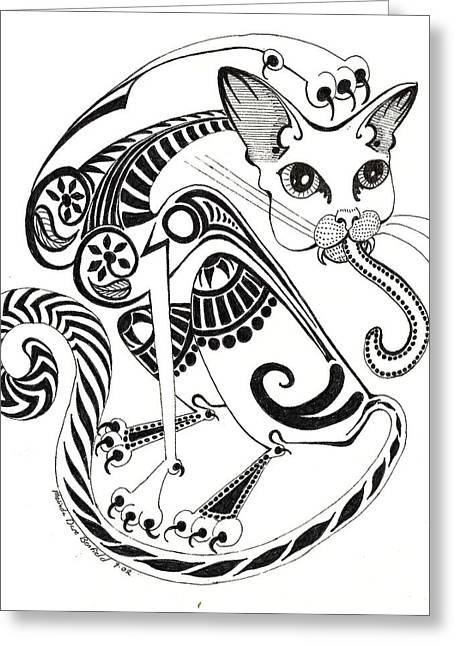 Pussy Drawings Greeting Cards - Circle Cat Greeting Card by Melinda Dare Benfield