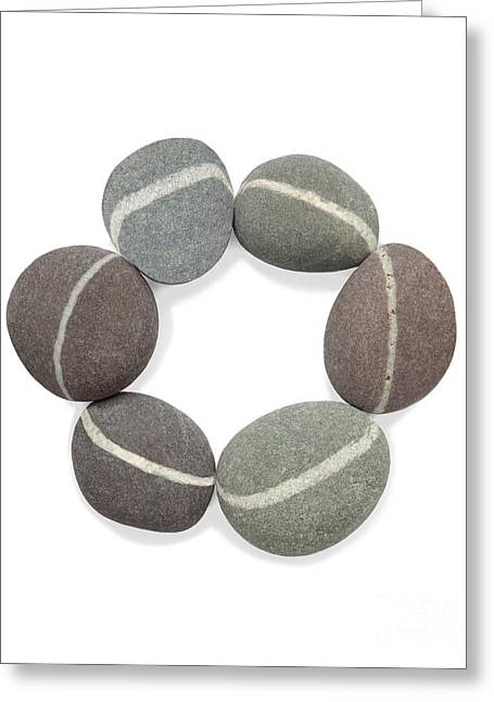 Smoothness Greeting Cards - Circle created with six granite pebbles Greeting Card by Rosemary Calvert