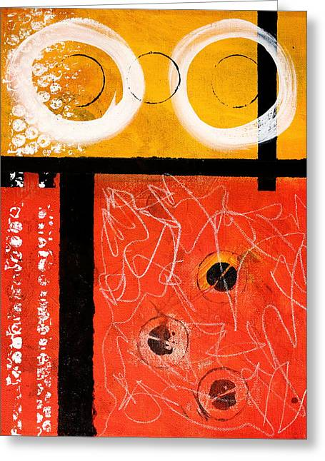 Dots And Lines Paintings Greeting Cards - Circle Gold Abstract Greeting Card by Nancy Merkle