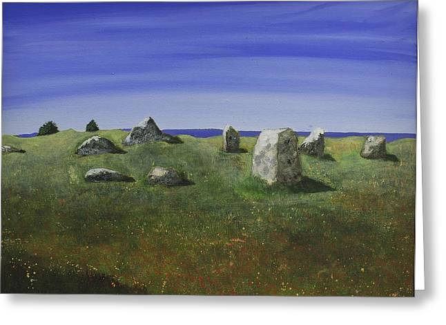 Vikings Paintings Greeting Cards - Ancient Circle of Stones  Greeting Card by Victoria Stavish