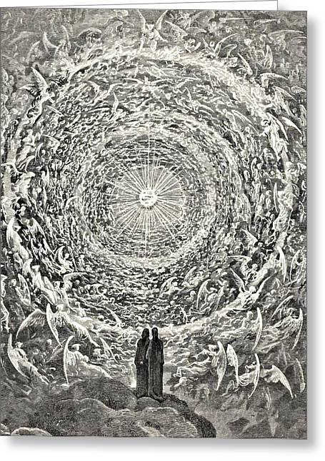 Dore Greeting Cards - Circle of Angels Dantes Paradise Illustration Greeting Card by