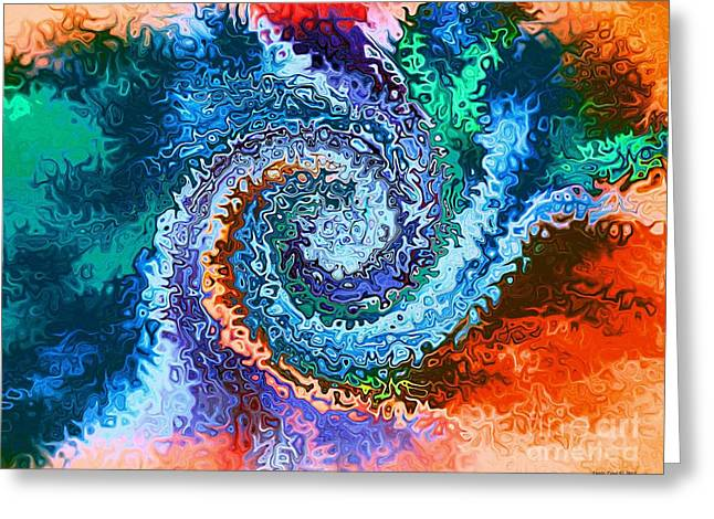 Circle Of Colors Abstract Art Greeting Card by Annie Zeno