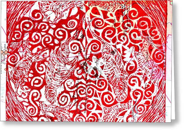 Printmaking Mixed Media Greeting Cards - Circle of Life Greeting Card by Sanet Visser