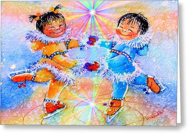 Ice-skating Greeting Cards - Circle Of Love Greeting Card by Hanne Lore Koehler