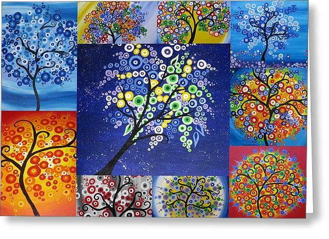 Catherine Digital Greeting Cards - Circle Tree Collage Greeting Card by Cathy Jacobs