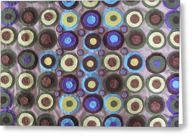 Earth Tapestries - Textiles Greeting Cards - Circles and Dots Greeting Card by Cherie Sexsmith