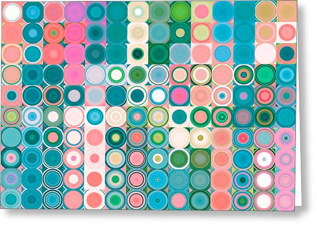 Decorator Series Greeting Cards - Circles and Squares 20. Modern Abstract Fine Art Greeting Card by Mark Lawrence