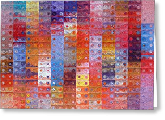 Decorator Series Greeting Cards - Circles and Squares 33. Modern Abstract Fine Art Greeting Card by Mark Lawrence