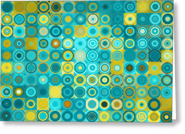 Framed. Giclee Greeting Cards - Circles and Squares 6. Modern Home Decor Art Greeting Card by Mark Lawrence