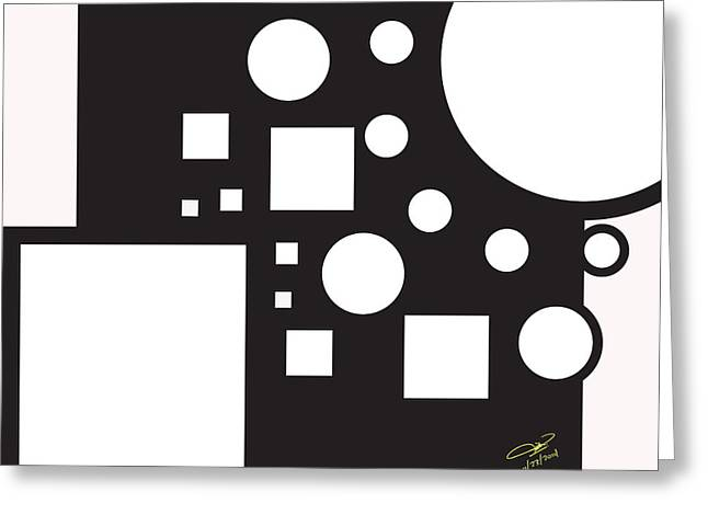 Black And White Images Mixed Media Greeting Cards - Circles And Squares Greeting Card by Hope Linton