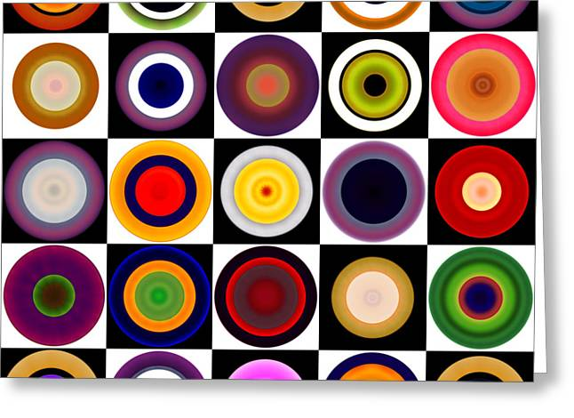 Engraving Digital Greeting Cards - Circles in Squares Greeting Card by Gary Grayson