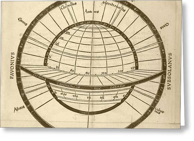 Circles On Earth Globe Greeting Card by Library Of Congress