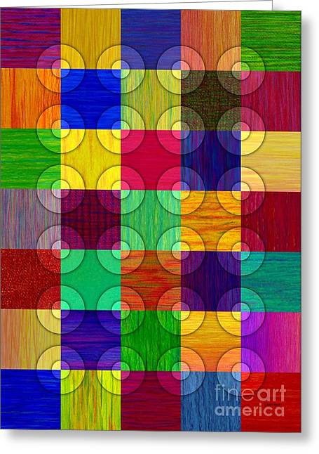 Colored Pencil Abstract Greeting Cards - Circles Over Squares Greeting Card by David K Small