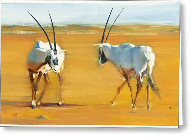 Rut Greeting Cards - Circling Arabian Oryx Greeting Card by Mark Adlington