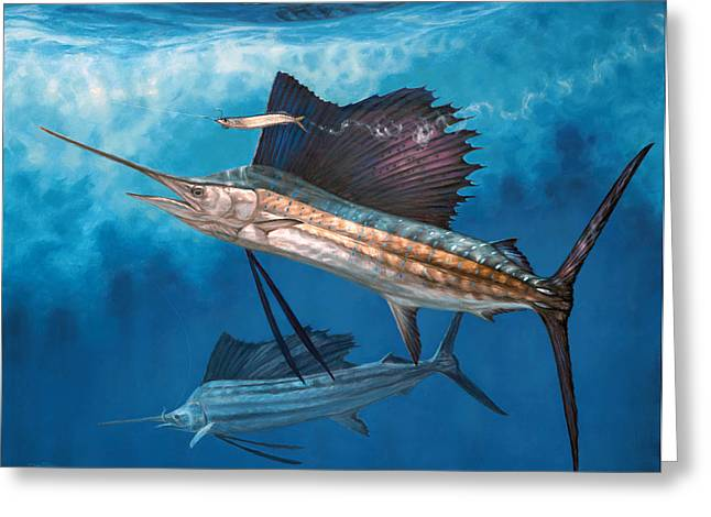 Underwater View Paintings Greeting Cards - Circling the Bait Greeting Card by Don  Ray