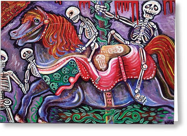 Mexican Horse Greeting Cards - Circo De Los Muertos Greeting Card by Laura Barbosa