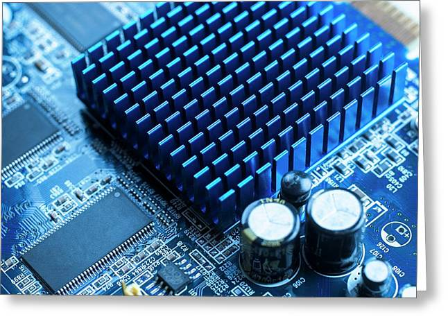 Circuit Board Heat Sink Greeting Card by Science Photo Library