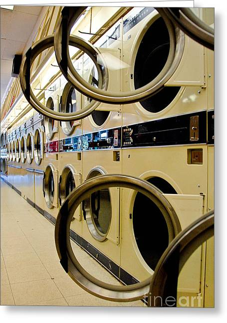 Row Greeting Cards - Circular Doors on Laundromat Washing Machines Greeting Card by Amy Cicconi