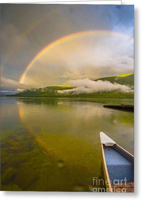 Double Rainbow Greeting Cards - Rainbow Reflection Ride Greeting Card by Joy McAdams