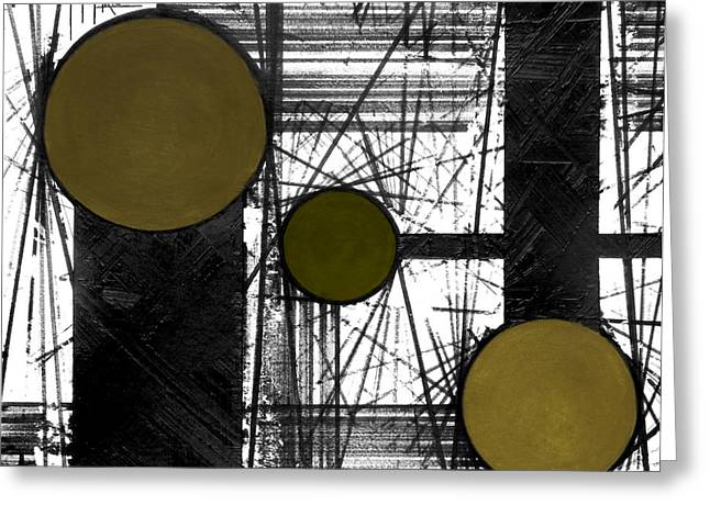 Ink Greeting Cards - Circular Lines Yellow Greeting Card by Andres Carbo