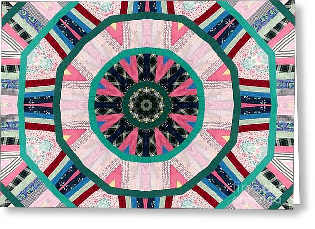 Cutting Tapestries - Textiles Greeting Cards - Circular Patchwork Art Greeting Card by Barbara Griffin