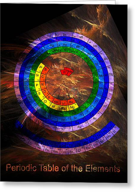 Period Digital Art Greeting Cards - Circular Periodic Table of the Elements Greeting Card by Carol and Mike Werner
