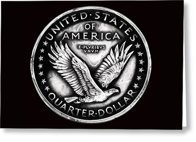 Silver Coins Greeting Cards - Circulated Standing Liberty Reverse Black and White Greeting Card by Fred Larucci