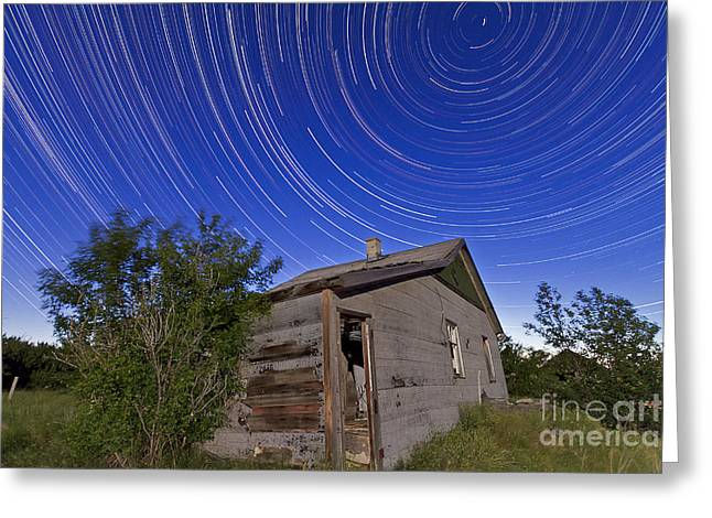 Log Cabins Greeting Cards - Circumpolar Star Trails Above An Old Greeting Card by Alan Dyer