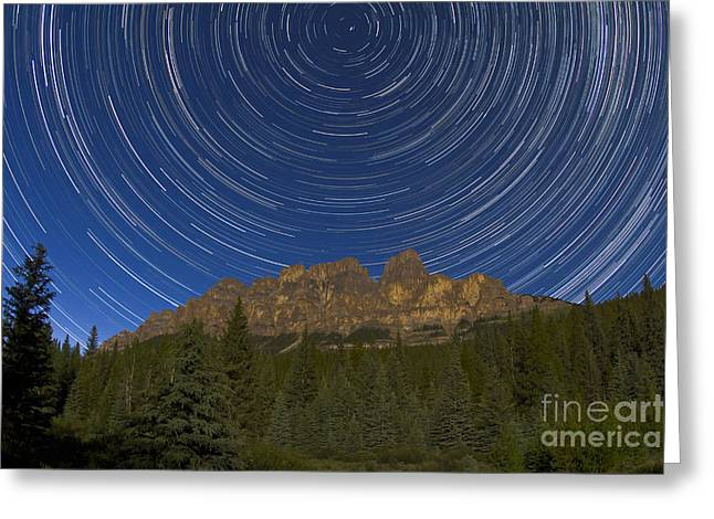 Castle In Valley Greeting Cards - Circumpolar Stars Trails Over Castle Greeting Card by Alan Dyer