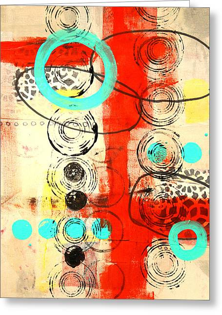 Circus Abstract Mixed Media Collage Greeting Card by Nancy Merkle