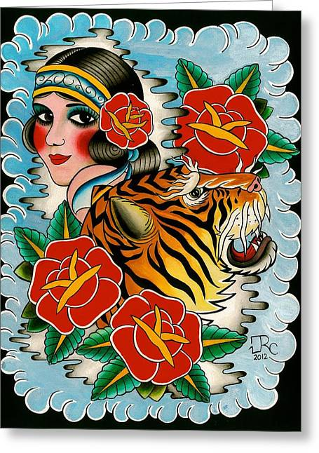 Tattoo Flash Paintings Greeting Cards - Circus Beauties Greeting Card by Jose  Chalarca