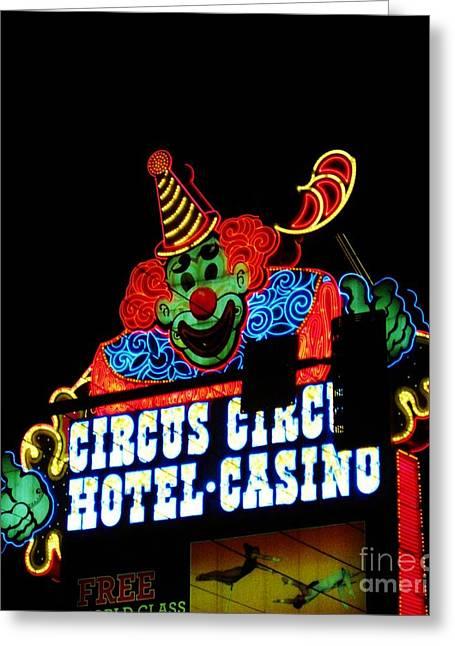 Circus Circus Sign Vegas Greeting Card by John Malone