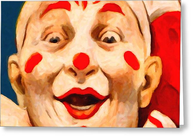 Scary Clown Greeting Cards - Circus Clown - 2012-1230 - Painterly - Square Greeting Card by Wingsdomain Art and Photography