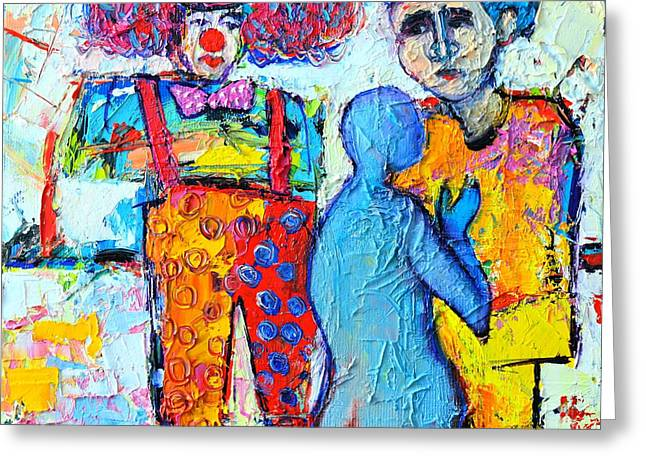 Abstract Expression Greeting Cards - Circus Confidential  Greeting Card by Ana Maria Edulescu