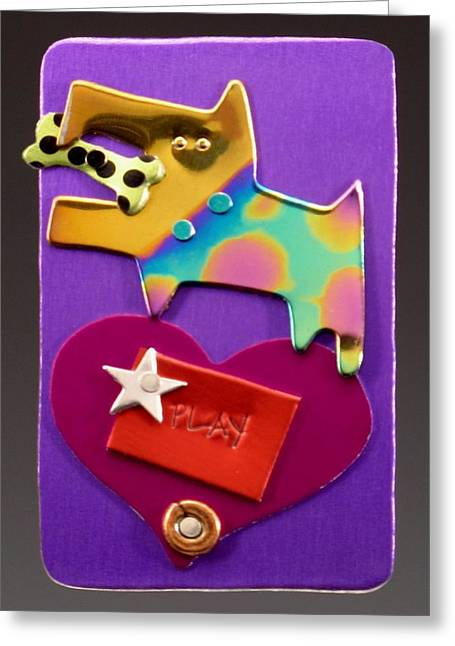 Whimsical Jewelry Greeting Cards - Circus Dog Greeting Card by Barbara Lager