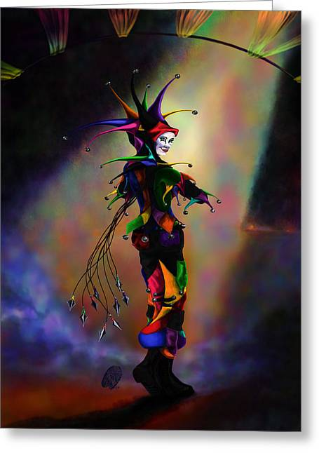 Jester Greeting Cards - Cat O Nine Tails Greeting Card by Kd Neeley