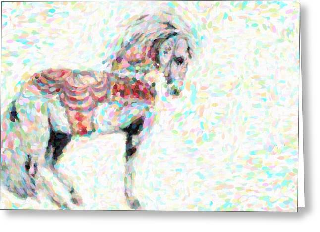 Rearing Up Greeting Cards - Circus Horse Greeting Card by Toppart Sweden