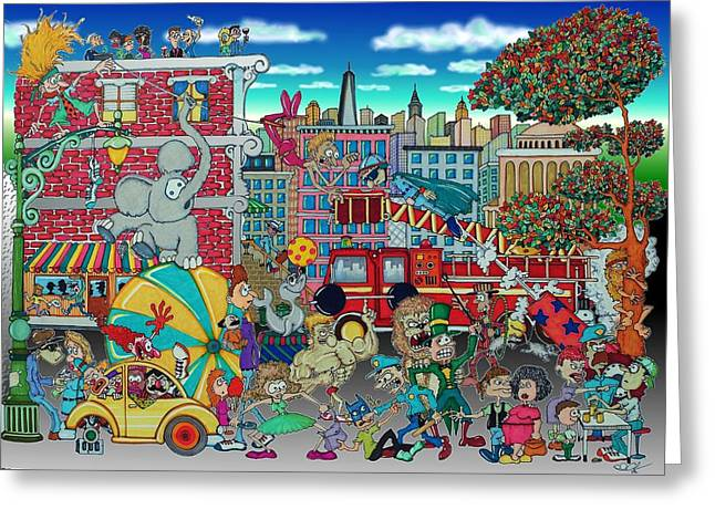 Ringling Brothers Greeting Cards - Circus in the City Greeting Card by Paul Calabrese